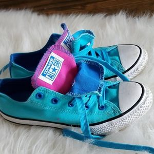 Converse All Star blue pink double tongue girls 4